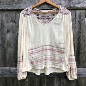 Cream Embroidered Peasant Shirt with Aztec Design